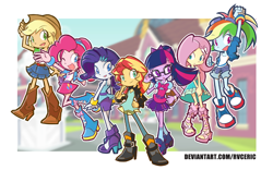 Size: 2720x1700 | Tagged: safe, artist:rvceric, applejack, fluttershy, pinkie pie, rainbow dash, rarity, sci-twi, sunset shimmer, twilight sparkle, equestria girls, boots, bow, clothes, cowboy boots, cowboy hat, female, glasses, hair bow, hat, humane five, humane seven, humane six, jacket, leather jacket, shoes, sneakers