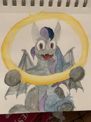 Size: 4032x3024   Tagged: safe, artist:97blackbird, oc, bat pony, bat pony oc, traditional art, watercolor painting, wip