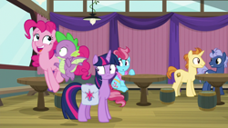 Size: 1920x1080 | Tagged: safe, screencap, cup cake, golden crust, midnight snack (character), pinkie pie, spike, twilight sparkle, alicorn, dragon, a trivial pursuit, spoiler:s09e16, bag, friendship student, saddle bag, twilight sparkle (alicorn), winged spike