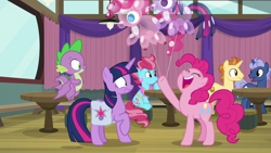 Size: 1920x1080 | Tagged: safe, screencap, cup cake, golden crust, midnight snack (character), pinkie pie, spike, twilight sparkle, alicorn, dragon, a trivial pursuit, spoiler:s09e16, bag, balloon, friendship student, saddle bag, twilight sparkle (alicorn), winged spike