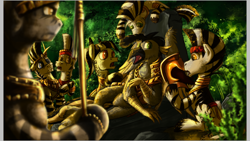 Size: 1920x1080 | Tagged: safe, artist:jamescorck, oc, oc only, oc:faber greyfeather, hippogriff, zebra, armor, background characters doing background things, conquistador, discovery, female, hippogriff oc, jungle, lost, lost soldier, male, mare, natives, spear, stallion, weapon