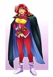 Size: 1493x2170 | Tagged: safe, artist:ambris, sunset shimmer, equestria girls, abstract background, cape, clothes, colored pupils, cosplay, costume, crossover, ear piercing, earring, female, hand on hip, jewelry, lina inverse, open mouth, piercing, slayers, solo