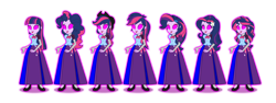 Size: 1024x384 | Tagged: safe, artist:cartoonmasterv3, applejack, fluttershy, pinkie pie, rainbow dash, rarity, spike, sunset shimmer, twilight sparkle, alicorn, human, equestria girls, alternate universe, avatar, clothes, humane five, humane seven, humane six, long skirt, simple background, skirt, transparent background, twilight sparkle (alicorn), vector