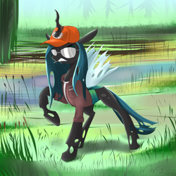 Size: 4000x4000 | Tagged: safe, artist:wilshirewolf, queen chrysalis, changeling, changeling queen, absurd resolution, angry, cigarette, clothes, crossover, dale gribble, female, hat, horn, horn impalement, king of the hill, solo, sunglasses