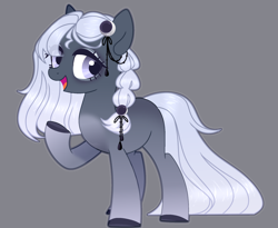 Size: 1740x1428   Tagged: artist needed, safe, oc, earth pony, pony, female, gray background, hair over one eye, one hoof raised, simple background, vector