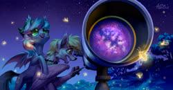 Size: 4016x2094   Tagged: safe, artist:holivi, oc, oc only, oc:golden aegis, oc:starskipper, bat pony, firefly (insect), insect, original species, pony, galaxy, night, stars, telescope, tree, wings