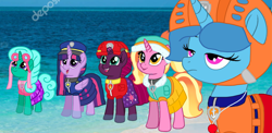 Size: 2220x1080 | Tagged: safe, artist:徐詩珮, fizzlepop berrytwist, glitter drops, luster dawn, spring rain, tempest shadow, twilight sparkle, alicorn, unicorn, series:sprglitemplight diary, series:sprglitemplight life jacket days, series:springshadowdrops diary, series:springshadowdrops life jacket days, alternate universe, base used, beach, bisexual, broken horn, clothes, cute, depositphotos, equestria girls outfit, female, glitterbetes, glitterlight, glittershadow, horn, lesbian, lifeguard spring rain, lightly watermarked, paw patrol, photo, polyamory, shipping, sprglitemplight, spring rain is not amused, springbetes, springdrops, springlight, springshadow, springshadowdrops, stock image, tempestbetes, tempestlight, twilight sparkle (alicorn), unamused, watermark