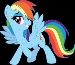 Size: 5772x5000   Tagged: safe, artist:pink1ejack, kotobukiya, rainbow dash, pegasus, pony, absurd resolution, cute, dashabetes, female, kotobukiya rainbow dash, mare, raised hoof, simple background, smiling, solo, spread wings, transparent background, vector, wings