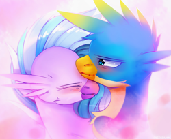 Size: 1350x1100 | Tagged: safe, artist:lostdreamm, gallus, silverstream, griffon, hippogriff, blushing, cute, daaaaaaaaaaaw, diastreamies, female, gallabetes, gallstream, male, nuzzling, shipping, straight