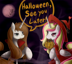 Size: 1690x1500 | Tagged: safe, artist:maren, oc, oc only, oc:prince lubus, oc:princess animus, alicorn, alicorn oc, clothes, costume, halloween, holiday, pumpkin bucket