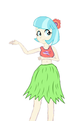 Size: 476x692 | Tagged: safe, artist:lucaspache, coco pommel, equestria girls, bare legs, belly button, clothes, cocobetes, cute, equestria girls-ified, flower, flower in hair, grass skirt, hula, hula dance, hulapommel, midriff, shirt, skirt, solo