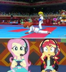 Size: 1344x1464 | Tagged: safe, edit, edited screencap, screencap, fluttershy, sunset shimmer, equestria girls, game stream, spoiler:eqg series, spoiler:eqg series (season 2), charmy bee, controller, foot pad, gi, karate, karate gi, karate gloves, mario & sonic, mario & sonic at the olympic games, mario & sonic at the olympic games tokyo 2020, mario and sonic, mario and sonic at the olympic games, nintendo, nintendo switch, olympics, princess daisy, princess peach, purple toad, sega, sonic the hedgehog (series), sports, super mario bros., toad (mario bros), tokyo 2020, video game