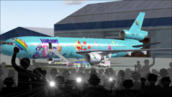 Size: 1366x768 | Tagged: safe, artist:electrahybrida, applejack, fluttershy, pinkie pie, rainbow dash, rarity, sci-twi, sunset shimmer, twilight sparkle, equestria girls, equestria girls series, aircraft, airport, camera flashes, crowd, flight simulator, flight simulator 2004, ishi rudell, mcdonnell douglas, mcdonnell douglas md11, md11, meta, microsoft flight simulator, news van, plane, private plane, stair truck, staircase, stairs, the rainbooms, the rainbooms tour bus, the rainbooms tour plane, tour bus, tour plane, twitter