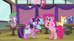 Size: 1920x1080 | Tagged: safe, screencap, cup cake, golden crust, midnight snack (character), pinkie pie, spike, twilight sparkle, alicorn, dragon, a trivial pursuit, spoiler:s09e16, bag, balloon, friendship student, saddle bag, scissors, starry eyes, twilight sparkle (alicorn), wingding eyes, winged spike