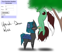 Size: 500x438 | Tagged: safe, artist:kaggy009, oc, oc only, oc:peppermint pattie (unicorn), oc:synch, changeling, pony, unicorn, ask peppermint pattie, blushing, chibi, female, kissing, mare, tree, upside down, upside down kiss