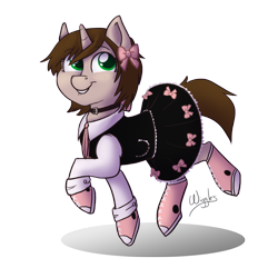 Size: 1000x1000 | Tagged: safe, artist:wiggles, oc, oc only, oc:ryleigh, pony, unicorn, bow, clothes, collar, commission, converse, dress, female, mare, shoes, simple background, sneakers, sneaky, solo, transparent background