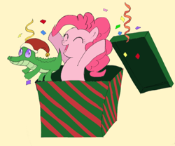 Size: 800x665 | Tagged: safe, artist:yuniuni11, gummy, pinkie pie, surprise, alligator, earth pony, pony, christmas, eyes closed, female, gift box, hat, holiday, male, mare, open mouth, santa hat, simple background, smiling, streamers, yellow background