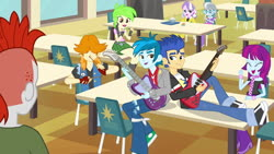 Size: 1539x866 | Tagged: safe, screencap, cherry crash, crimson napalm, diamond tiara, flash sentry, mystery mint, silver spoon, thunderbass, valhallen, equestria girls, equestria girls (movie), background human, boots, cafeteria, clothes, electric guitar, female, guitar, male, musical instrument, pants, shoes, smiling, sneakers, table