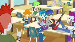 Size: 1539x866 | Tagged: safe, screencap, cherry crash, crimson napalm, diamond tiara, flash sentry, mystery mint, silver spoon, thunderbass, valhallen, equestria girls, equestria girls (movie), background human, cafeteria, clothes, electric guitar, eyes closed, guitar, musical instrument, pants, shoes, smiling, sneakers, table