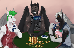 Size: 2031x1321 | Tagged: safe, artist:blackblood-queen, oc, oc only, oc:isaac arche, oc:rabid, oc:victor bates, anthro, bat pony, cat, unguligrade anthro, anthro oc, bat pony oc, bat wings, card, clothes, commission, digital art, fangs, male, pet, scar, smiling, stallion, table, wings