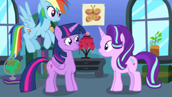 Size: 1920x1080 | Tagged: safe, artist:kazamacat, rainbow dash, starlight glimmer, twilight sparkle, alicorn, pegasus, pony, unicorn, fanfic:the master mev, book, fanfic art, globe, twilight sparkle (alicorn)