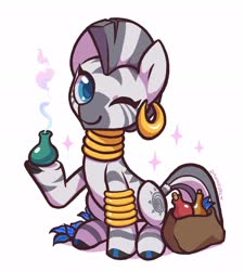 Size: 1840x2048 | Tagged: safe, artist:dawnfire, zecora, zebra, bag, bracelet, colored pupils, cute, ear piercing, earring, female, flower, jewelry, looking at you, mare, neck rings, one eye closed, piercing, plant, poison joke, potion, quadrupedal, simple background, sitting, smiling, solo, white background, wink, zecorable