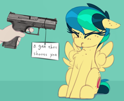 Size: 1000x820   Tagged: safe, artist:shinodage, edit, oc, oc only, oc:apogee, human, pegasus, pony, apogee getting sprayed, captain obvious, chest fluff, eyes closed, female, filly, floppy ears, fluffy, freckles, green background, gun, hand, handgun, mare, meme, offscreen character, pistol, simple background, solo, text, weapon