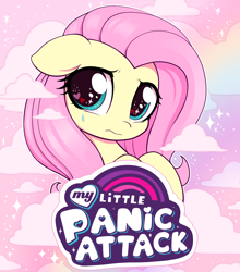 Size: 2480x2812 | Tagged: safe, artist:moozua, fluttershy, pegasus, pony, anxiety, bust, catchlights, cloud, crying, cute, eye sparkles, female, fluttercry, frown, glitter, heart eyes, high res, highlights, looking at you, mare, my little pony logo, my little x, panic attack, portrait, rainbow, sad, sadorable, shyabetes, sky, solo, teardrop, wingding eyes