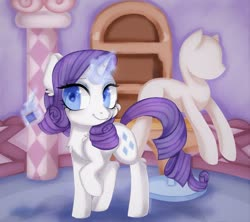 Size: 1600x1421 | Tagged: safe, artist:appleychu, artist:appleychuu, rarity, pony, unicorn, carousel boutique, cheek fluff, chest fluff, colored pupils, cute, ear fluff, female, heart eyes, leg fluff, looking at you, magic, mannequin, mare, needle, raribetes, solo, telekinesis, thread, wingding eyes