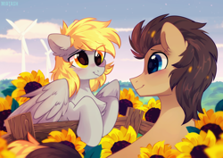 Size: 960x678 | Tagged: safe, alternate version, artist:mirtash, derpy hooves, doctor whooves, time turner, earth pony, pegasus, pony, blushing, chest fluff, doctorderpy, ear fluff, eye contact, female, fence, flower, looking at each other, male, mare, shipping, smiling, stallion, straight, sunflower, windmill