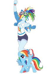 Size: 4210x5962 | Tagged: safe, artist:pink1ejack, kotobukiya, rainbow dash, human, pegasus, pony, equestria girls, absurd resolution, armpits, beautiful, clothes, cute, dashabetes, denim shorts, goggles, human ponidox, humanized, jacket, jean shorts, kotobukiya rainbow dash, legs, moe, one eye closed, pony ears, self ponidox, sexy, shorts, simple background, smiling, smiling at you, solo, sultry pose, tanktop, tomboy, transparent background, vector, wink