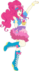 Size: 3308x6000 | Tagged: safe, artist:pink1ejack, kotobukiya, pinkie pie, human, equestria girls, absurd resolution, clothes, cute, human coloration, humanized, jacket, kotobukiya pinkie pie, open mouth, raised leg, simple background, skirt, smiling, solo, transparent background, vector