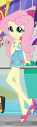 Size: 601x2038 | Tagged: safe, screencap, fluttershy, sci-twi, sunset shimmer, twilight sparkle, equestria girls, equestria girls series, spring breakdown, spoiler:eqg series, spoiler:eqg series (season 2), adorasexy, boat, clothes, cropped, cropped screencap, cute, feet, geode of fauna, geode of telekinesis, girly girl, legs, lip bite, looking at you, magical geodes, offscreen character, sandals, sexy, shorts, shyabetes, sleeveless, smiling