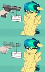 Size: 1000x1614 | Tagged: safe, artist:shinodage, edit, edited edit, oc, oc only, oc:apogee, pegasus, pony, apogee getting sprayed, chest fluff, duck dodgers, edit of an edit of an edit, female, filly, gun, handgun, looney tunes, meme, pegasus oc, pistol, puffed chest, scrunchy face, weapon, wings