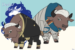 Size: 1536x1024 | Tagged: safe, artist:housho, buffalo, armor, clothes, dedue molinaro, ear piercing, earring, fire emblem, fire emblem: three houses, jewelry, piercing, ponified, scar