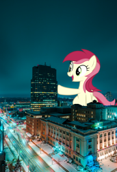 Size: 2630x3840 | Tagged: safe, artist:dashiesparkle, roseluck, pony, building, canada, female, giant pony, giantess, highrise ponies, irl, lights, london, macro, night, photo, raised hoof, sky, snow