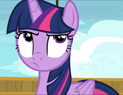 Size: 1217x940   Tagged: safe, screencap, twilight sparkle, alicorn, once upon a zeppelin, cropped, solo, twilight is not amused, twilight sparkle (alicorn), unamused