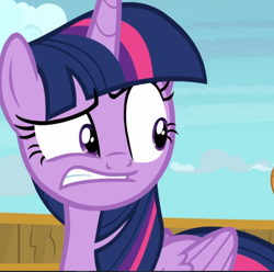 Size: 950x941   Tagged: safe, screencap, twilight sparkle, alicorn, once upon a zeppelin, cropped, solo, twilight sparkle (alicorn), weirded out