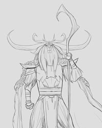 Size: 545x681 | Tagged: safe, artist:jose lopez, storm king, yeti, my little pony: the movie, antagonist, armor, cape, clothes, concept art, crown, drawing, horns, jewelry, long hair, original design, pencil drawing, regalia, robe, simple background, sketch, solo, staff, staff of sacanas, traditional art, white background