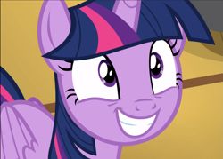 Size: 1309x938 | Tagged: safe, screencap, twilight sparkle, alicorn, once upon a zeppelin, cropped, cute, smiling, solo, twiabetes, twilight sparkle (alicorn)
