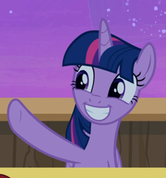 Size: 724x772 | Tagged: safe, screencap, twilight sparkle, alicorn, once upon a zeppelin, cropped, cute, smiling, solo, twiabetes, twilight sparkle (alicorn), waving