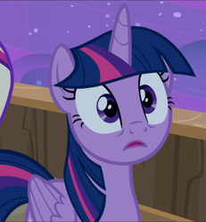 Size: 866x939   Tagged: safe, screencap, twilight sparkle, alicorn, once upon a zeppelin, cropped, solo, surprised, twilight sparkle (alicorn)