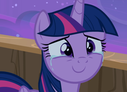 Size: 1286x936 | Tagged: safe, screencap, twilight sparkle, alicorn, once upon a zeppelin, cropped, crying, smiling, solo, tears of joy, twilight sparkle (alicorn)