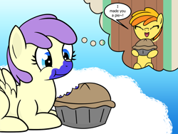 Size: 1600x1200 | Tagged: safe, artist:dinkyuniverse, alula, blueberry pie, peachy pie, pluto, princess erroria, earth pony, pegasus, pony, 4chan, alula pie, asdfmovie2, cloud, crush, door, eating, female, filly, foal, food, happy, house, pie, present, princess erroria gets all the mares, shipping, sky, smiling
