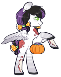 Size: 257x323 | Tagged: safe, artist:mvnchies, oc, oc only, pegasus, pony, undead, zombie, zombie pony, bow, female, hair bow, mare, pumpkin bucket, rearing, simple background, solo, white background