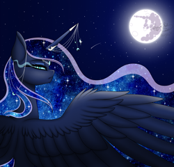 Size: 2400x2300 | Tagged: safe, artist:margo24, artist:minelvi, princess luna, alicorn, pony, collaboration, ethereal mane, female, full moon, galaxy mane, high res, horn, horn jewelry, jewelry, looking at you, mare, mare in the moon, moon, night, profile, rear view, regalia, shooting star, sky, slit pupils, solo, spread wings, starry mane, starry night, stars, wings