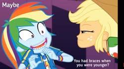 Size: 3646x2048 | Tagged: safe, edit, edited screencap, screencap, applejack, rainbow dash, constructive criticism, equestria girls, equestria girls series, braces, constructive criticism: rainbow dash