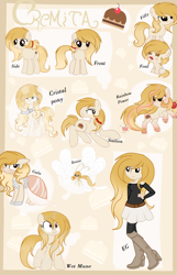 Size: 1160x1804 | Tagged: safe, artist:applerougi, oc, oc:cremita, breezie, crystal pony, earth pony, pony, equestria girls, baby, baby pony, clothes, crystallized, dress, female, filly, gala dress, mare, rainbow power, reference sheet, rule 63, solo, species swap, wet mane
