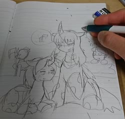 Size: 1076x1018 | Tagged: safe, artist:omegapony16, oc, oc only, changeling, changeling queen, changeling queen oc, curved horn, eraser, female, hand, horn, irl, lineart, lined paper, photo, pictogram, prone, raised hoof, traditional art