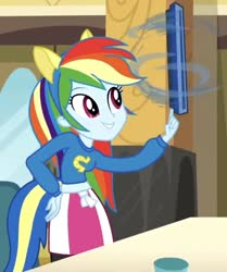 Size: 609x730   Tagged: safe, edit, edited screencap, screencap, rainbow dash, equestria girls, equestria girls (movie), balancing, cafeteria tray, cropped, helping twilight win the crown, solo, spinning, tray, wondercolt ears